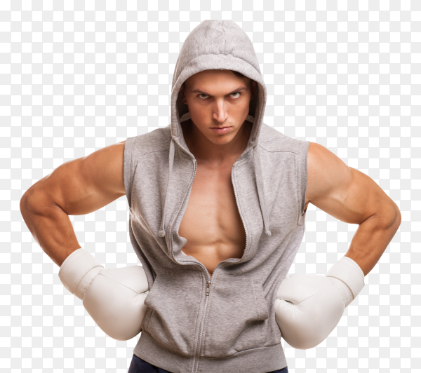 The young man boxer on transparent background PNG