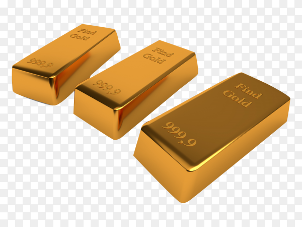 Three gold bars isolated on transparent background PNG