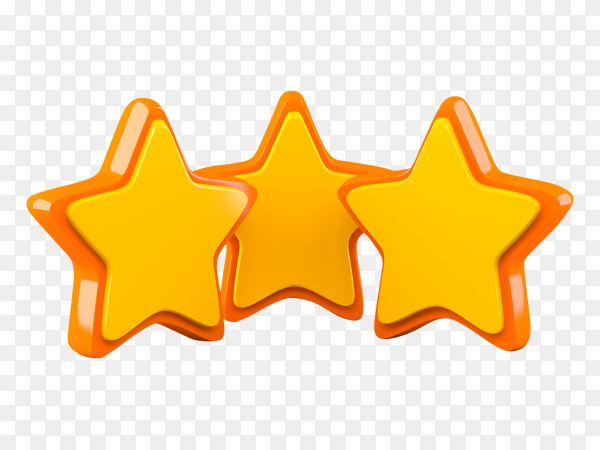 Three stars isolated on tramsparent background PNG