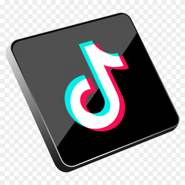 Tiktok 3D social media icon on transparent background PNG