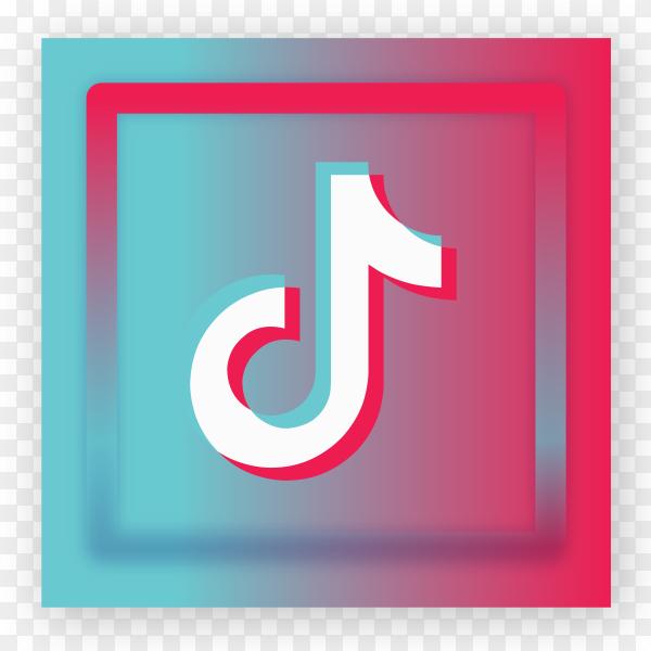Tiktok icon logo on transparent background PNG