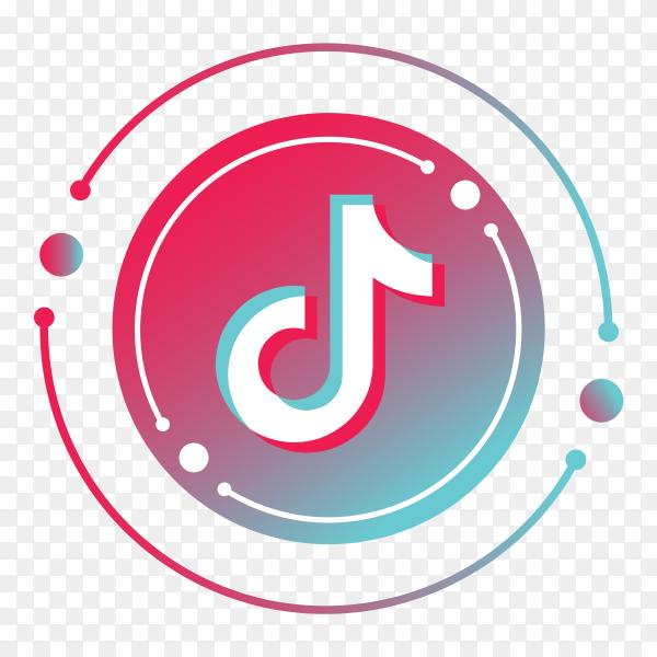 Tiktok logo minimal design  on transparent PNG
