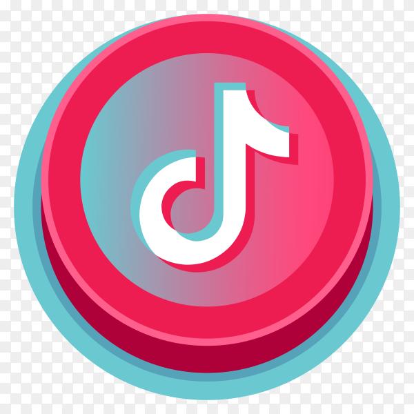 Tiktok logo minimal design 3D on transparent background PNG