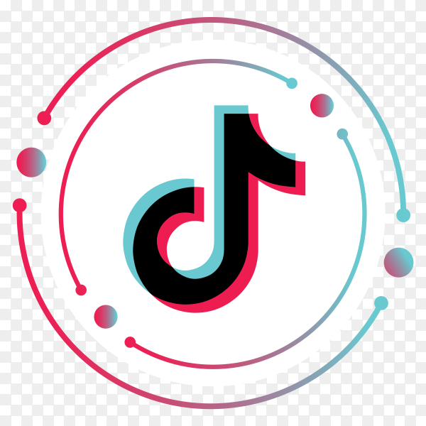 Tiktok logo minimal design on transparent background PNG