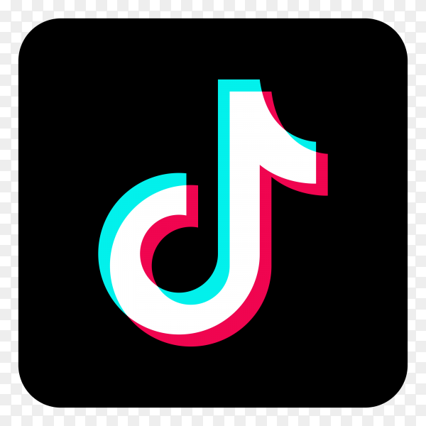 Tiktok of social media icon logo on transparent PNG