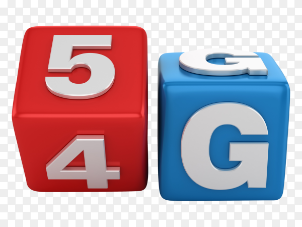 Tile blocks changing from 4g, 5g words on transparent background PNG