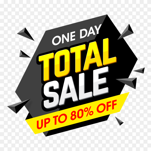 Total sale banner design on transparent background PNG