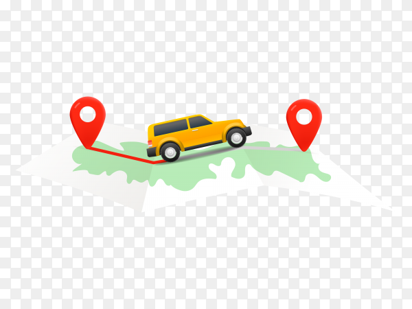 Travel by car concept with map on transparent background PNG
