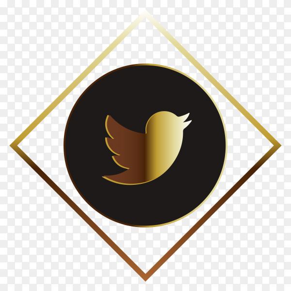 Twiiter golden logo on transparen background PNG