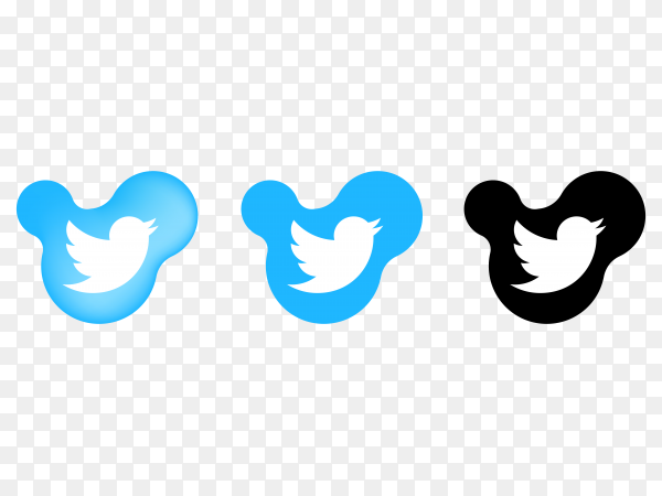 Twitter icons on transparent background PNG