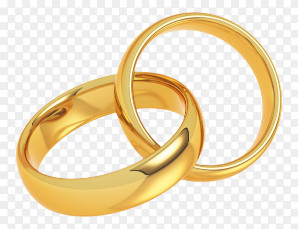 Two golden wedding rings on transparent PNG
