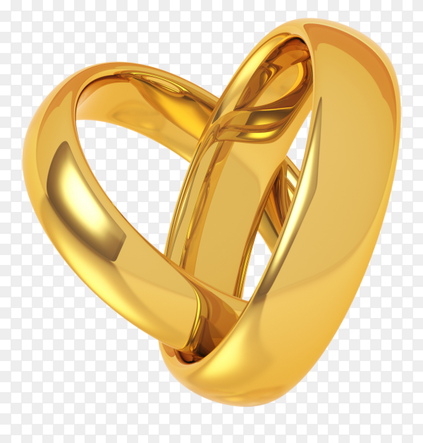 Two golden wedding rings on transparent background PNG