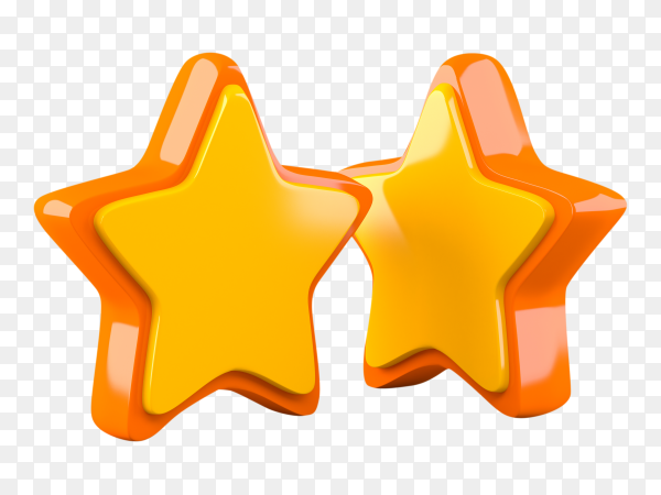 Two yellow stars o transparent background PNG