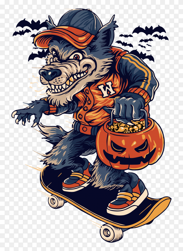 Warewolf in halloweeen on transparent background PNG