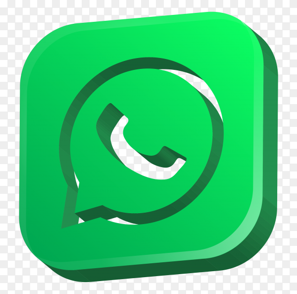Whatsapp 3D Logo on transparent background PNG