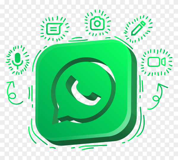 Whatsapp logo with colorful designs on transparent background PNG