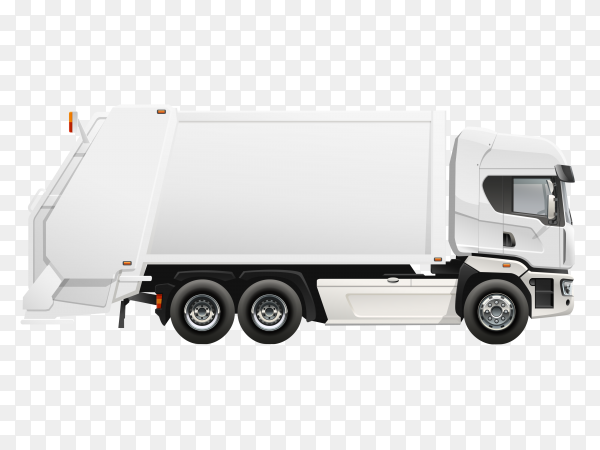 White Garbage truck design on transparent background PNG