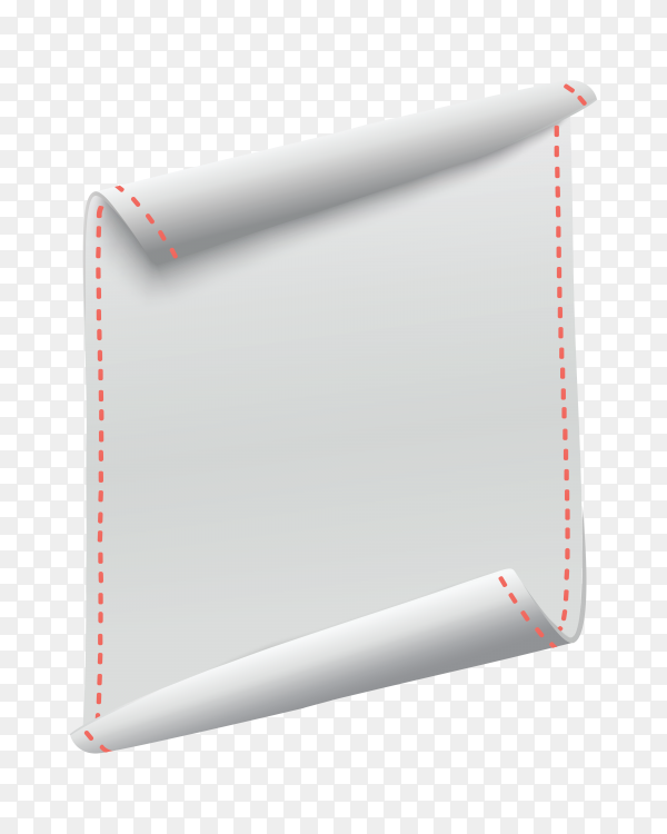 White Vertical curved banner on transparent background PNG