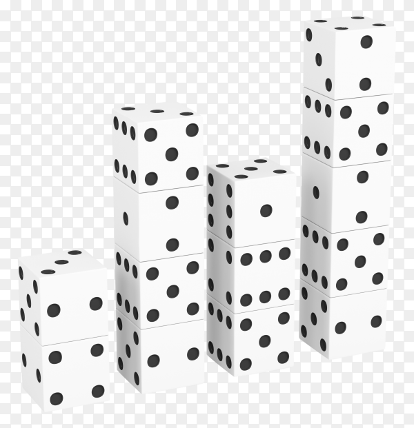 White dices isolated on transparent background PNG