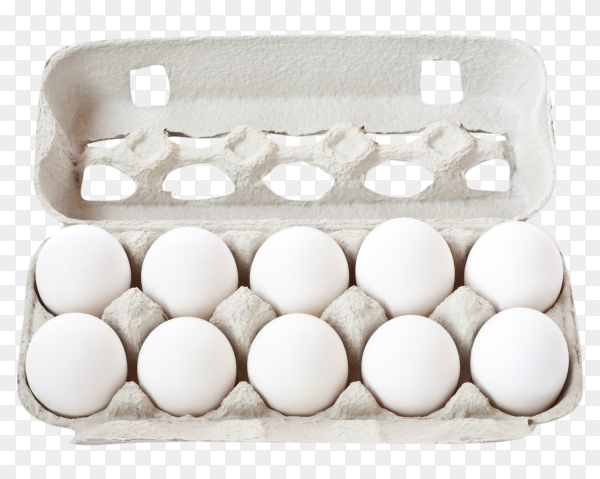 White eggs in carton box on transparent background PNG