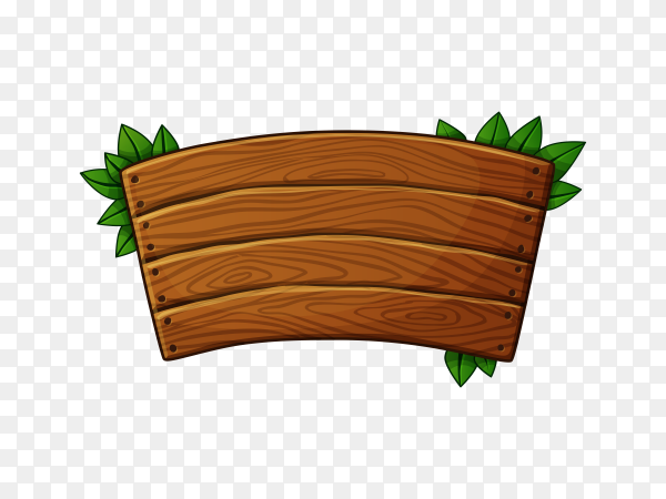Wooden banner with leaves on transparent background PNG