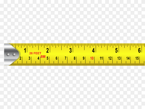 Yellow Measuring tape on transparent background PNG