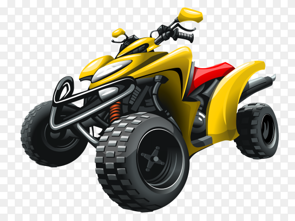 Yellow Red quad bike on transparent background PNG