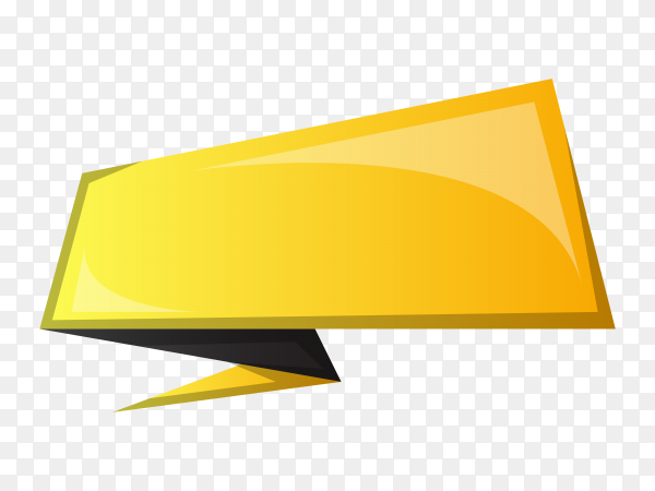 Yellow Ribbon Banner design on transparent background PNG