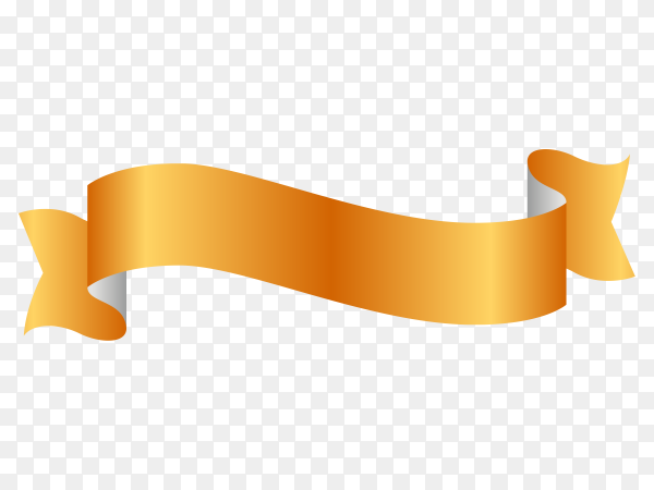 Yellow Ribbon Banner on transparent background PNG