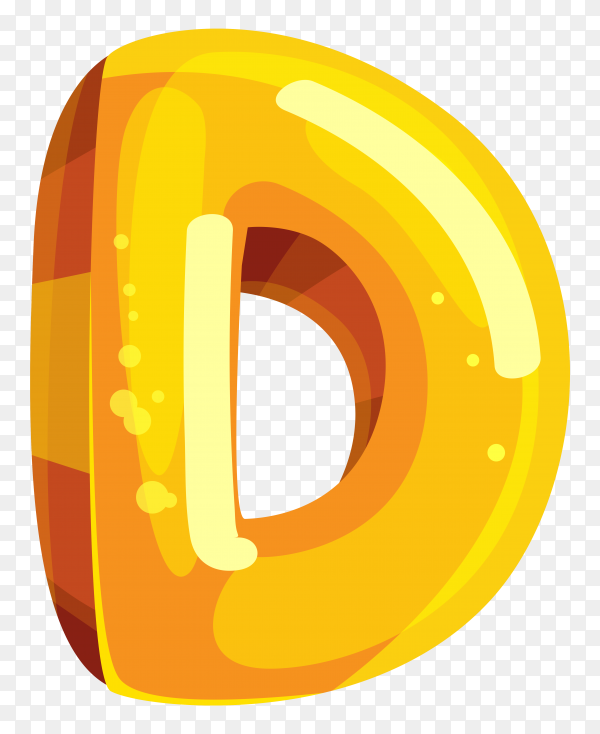 Yellow color shaped D letter on transparent background PNG