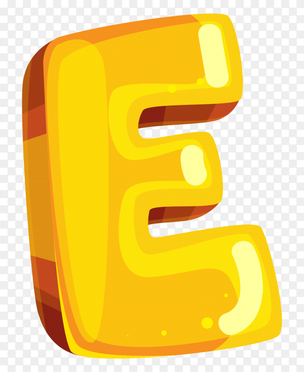 Yellow color shaped E letter on transparent background PNG