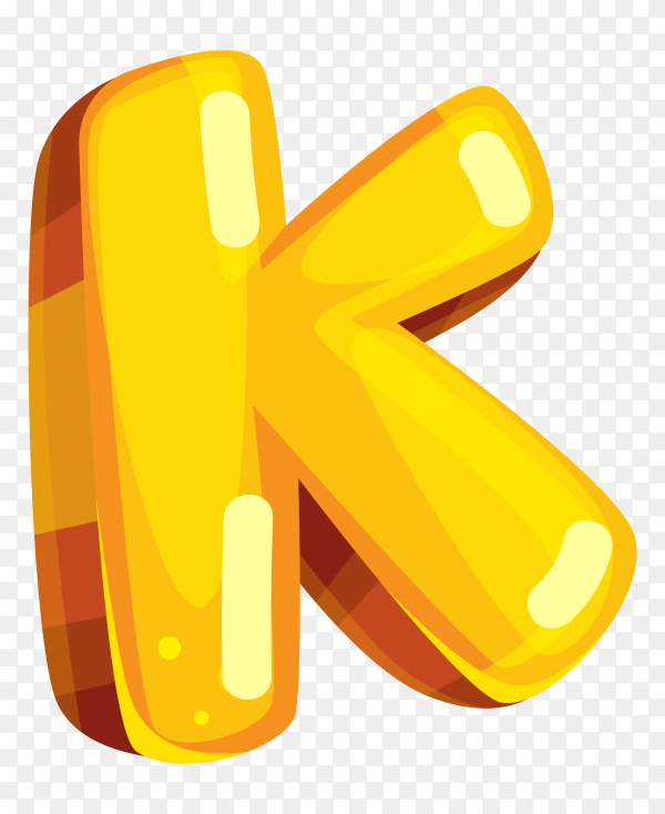 Yellow color shaped K letter on transparent background PNG