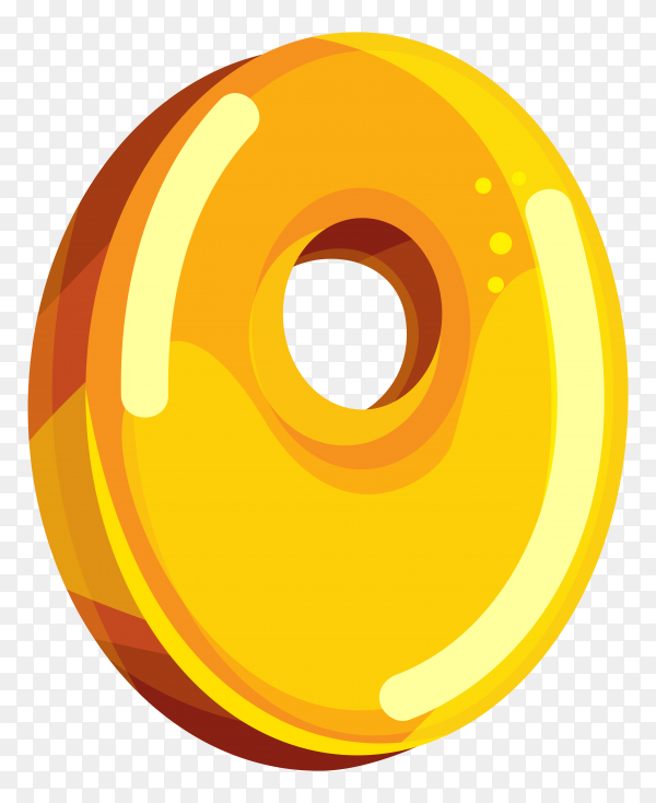 Yellow color shaped O letter on transparent background PNG