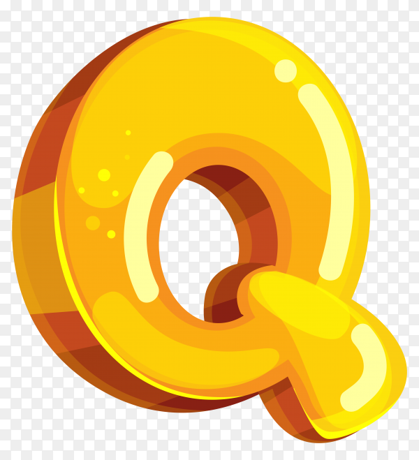 Yellow color shaped Q letter on transparent background PNG
