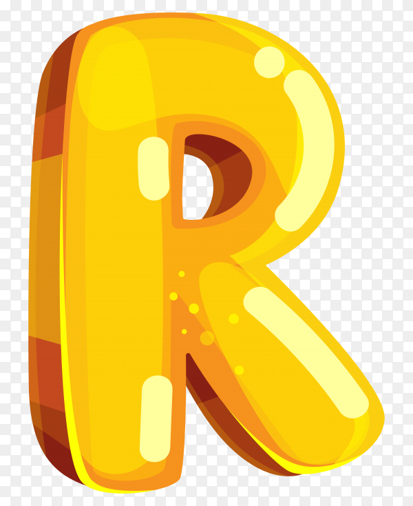Yellow color shaped R letter on transparent background PNG