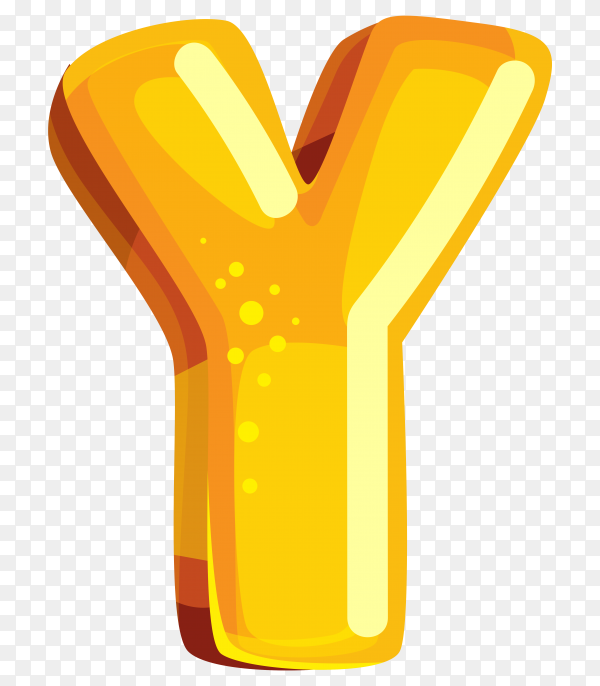 Yellow color shaped Y letter on transparent background PNG