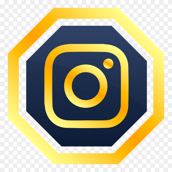 Yellow instagram icon design on transparent background PNG
