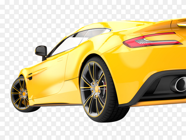 Yellow luxury car isolated on transparent background PNG
