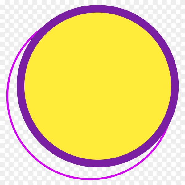 Yellow round banner design on transparent background PNG
