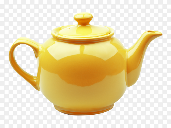 Yellow teapot on transparent background PNG