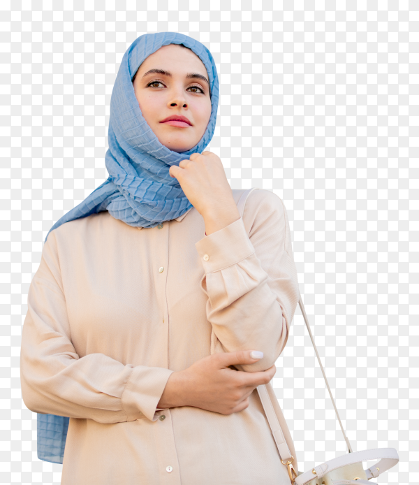 Young muslim woman in hijab on transparent background PNG