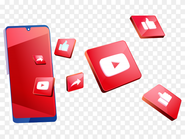 Youtube 3d social media icons with smartphone symbol on transparent background PNG