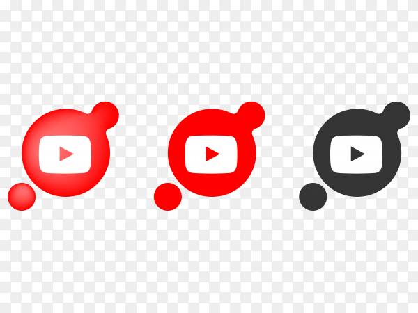 Youtube icons design on transparent background PNG