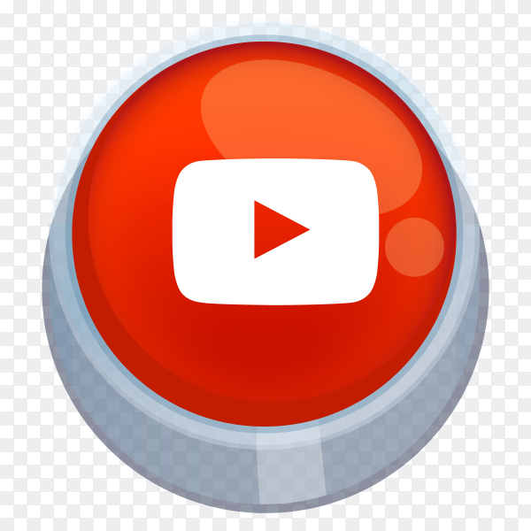 Youtube logo 3D button on transparent background PNG
