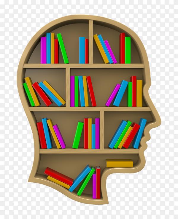 Bookshelf shaped human head on transparent background PNG