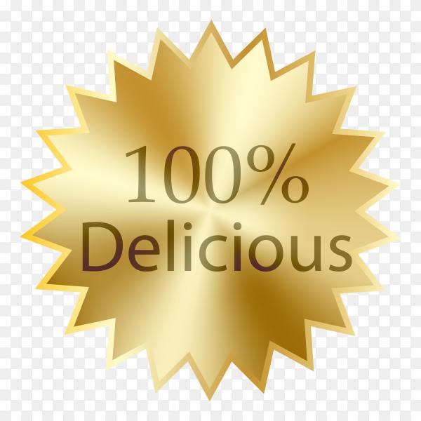 100% delicious banner design on transparent background PNG
