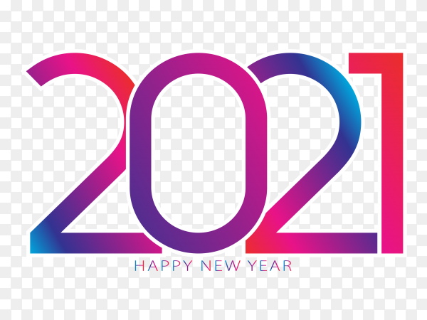 2021 happy new year text greeting design on transparent background PNG