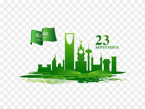 23rd september national day in saudi arabia celebration on transparent background PNG