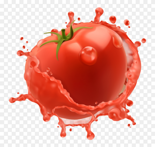 3D Fresh tomatoes and a splash of vegetable juice on transparent background PNG