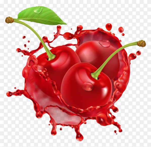 3D Red Cherry and shplash of fresh juice fruit on transparent background PNG